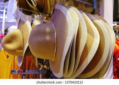 Assortment of summer straw hats