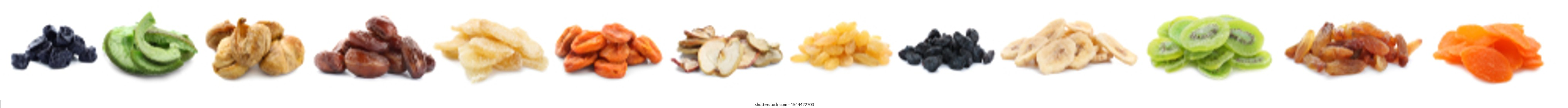Assortment of tasty dried fruits on white background