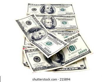 Assortment of US Currency isolated over white
