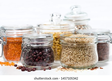 assortment of various cereals and legumes, horizontal