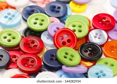 Assortment of Various Colorful Buttons for Clothes in full frame.