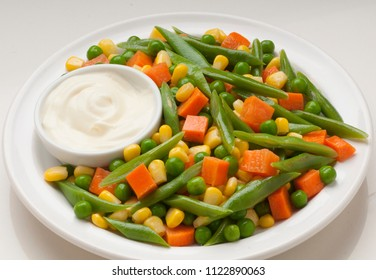 assortment of vegetables, carrot, corn, green beans
