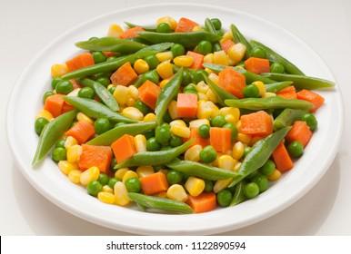 assortment of vegetables, carrot, corn, green bean
