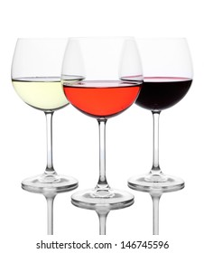 Assortment of wine in glasses isolated on white