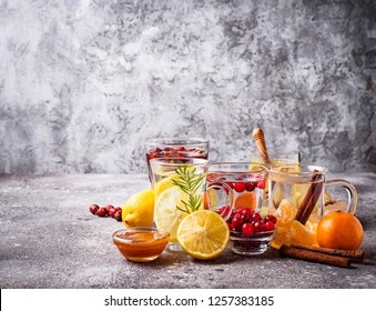 Assortment of winter healthy tea for immunity boosting and treatment of colds