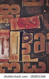 An assortment of wooden letters for printing