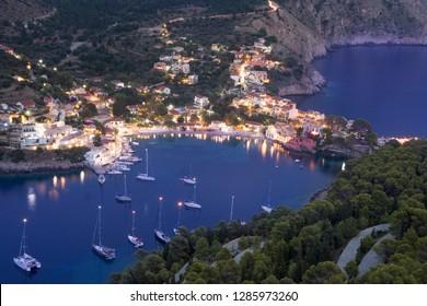 Assos bay and village, Kefalonia, night view