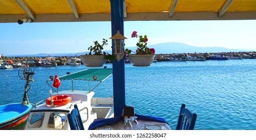 Assos, Canakkale, Turkey. Waterfront restaurant.