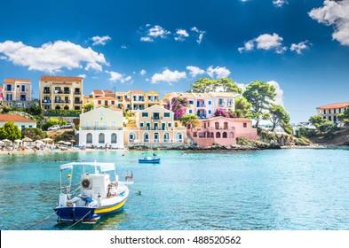Assos on the Island of Kefalonia in Greece. View of beautiful bay of Assos village, Kefalonia island, Greece.