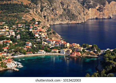"""Assos (or """"Asos"""") village, one of the most beautiful villages of Kefalonia, on the north part of the island. Ionian Sea, Greece"""