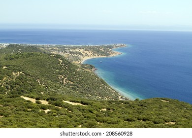 Assos Temple of Athena from the bird's eye view of the beach