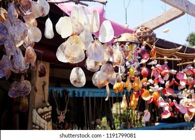 ASSOS, TURKEY - MAY 1, 2018 - Shells as trinkets in a souvenir stand in Behramkale Assos, Turkey