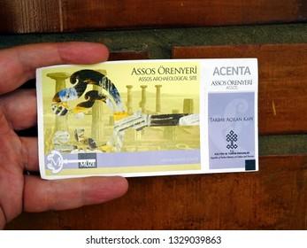 Assos/Turkey : 26.10.18 - Assos archeological site - entrance ticket