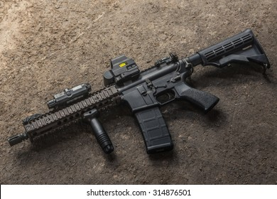 assult rifle AR15 model MK18 MOD1 for background or wallpaper