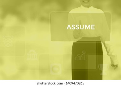 ASSUME - business concept presented by businessman