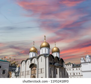 Assumption Cathedral (Cathedral of the Dormition, Uspensky sobor). Inside of Moscow Kremlin, Russia (day).