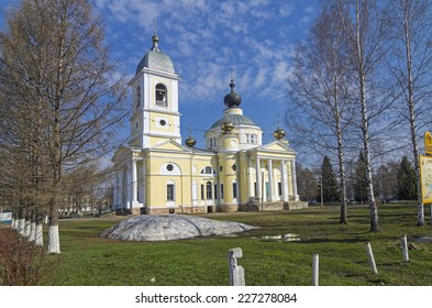 Assumption Cathedral in Myshkin, Russia, built in 1805-1820. Late Spring.