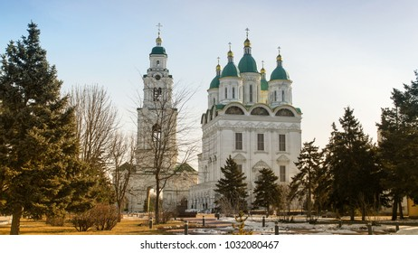 Assumption Cathedral and Nikolsky bell tower. Astrakhan. Russia. Architecture of the 16th century.11.02.2018.