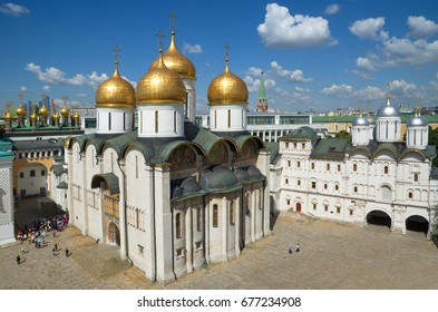 Assumption Cathedral and the Patriarch's Palace with Church of Twelve Apostles in Cathedral square of the Moscow Kremlin, Moscow, Russia