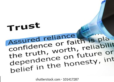 Assured reliance highlighted in blue, under the heading Trust