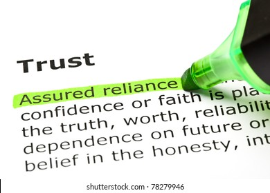 Assured reliance highlighted in green, under the heading Trust.