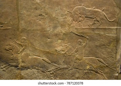 Assyrian relief sculpture. From Nineveh North Palace, Iraq, 668-627 B.C.