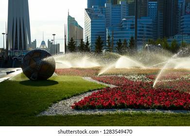 Astana cityscape.   Center of capital of Kazakhstan - Astana. Astana is the capital of Kazakhstan.