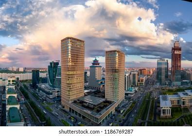 Astana / Kazakhstan - 06.20.2018: Talan Towers and The Ritz-Carlton Astana in Astana city