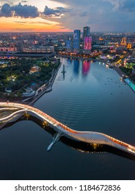 Astana / Kazakhstan - 07.12.2018 : Bridge over the river Ishim in the capital of Kazakhstan Astana