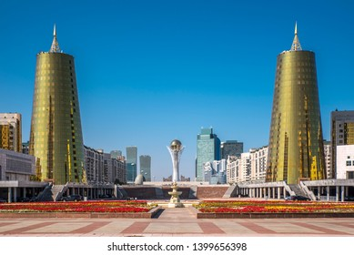 Astana, Kazakhstan - 09 13 2017:  City center of Astana (Nur-Sultan) capital of Kazakhstan with Bayterek tower in the middle