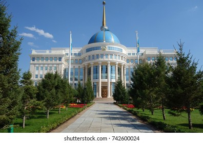 ASTANA, KAZAKHSTAN -25 AUG 2017- The Ak Orda Presidential Palace with a blue dome cupola building in Astana, the capital of Kazakhstan.