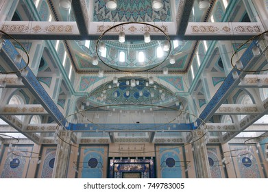 ASTANA, KAZAKHSTAN -25 AUG 2017- View of the Nur-Astana Mosque, the third largest mosque in Central Asia. It is managed by the Spiritual Association of Muslims of Kazakhstan.