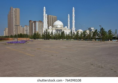 ASTANA, KAZAKHSTAN -25 AUG 2017- View of the Khazret (Hazret) Sultan Mosque, the second largest mosque in Central Asia, located on Independence Square in Astana.