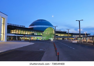 ASTANA, KAZAKHSTAN -27 AUG 2017- The Astana Nursultan Nazarbayev International Airport (TSE) in Astana, site of the 2017 World Expo. It is a hub for Air Astana (KC).