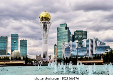 Astana, Kazakhstan - August 10, 2017: View to Bayterek and Astana cityscape. capital city of Kazakhstan