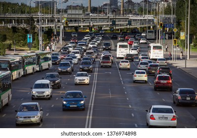 Astana, Kazakhstan - August 19, 2017: car traffic in astana