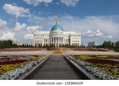 Astana, Kazakhstan, August 2 2018: Residence of the President of the Republic of Kazakhstan Ak Orda in Astana, Kazakhstan.