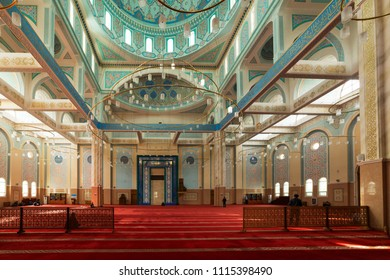 ASTANA, KAZAKHSTAN -August 25, 2015: Interior of the Nur-Astana Mosque, the third largest mosque in Central Asia