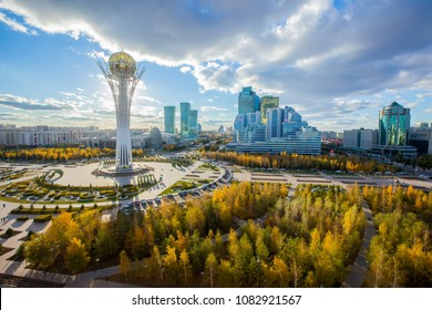 Astana, Kazakhstan. Center of the city, skyscraper, view on Baiterek