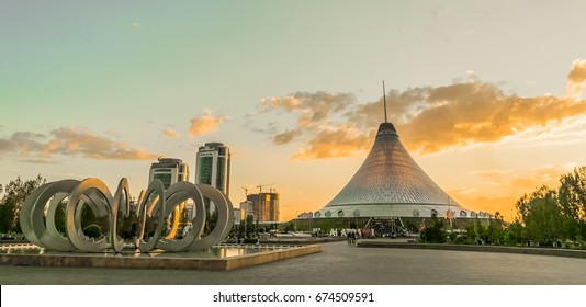 Astana Kazakhstan Date of June 12, 2017.Khan Shatyr shopping center (Royal Marquee) sunset time is a giant transparent tent in Astana, capital city of Kazakhstan.150m-high area 140,000 square meters