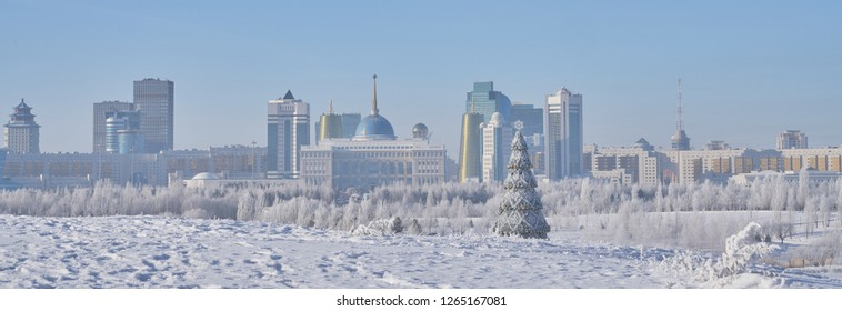 Astana, Kazakhstan - December 21, 2018: Winter Astana before the New Year. View to the Ak Orda in Astana city. Capital of Kazakhstan.