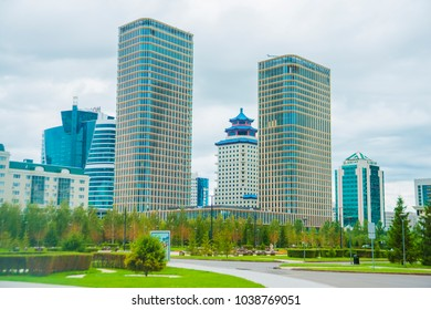 """Astana, Kazakhstan - July 01, 2016: """"Ritz Carlton"""" and """"Beijing Palace Soluxe"""" Hotels view from park"""