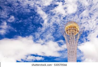 ASTANA, KAZAKHSTAN - JULY 05, 2016: Bayterek tower is the main symbol of Kazakhstan in Astana city, Kazakhstan on July 05, 2016. Astana is the capital of Kazakhstan since 1998.