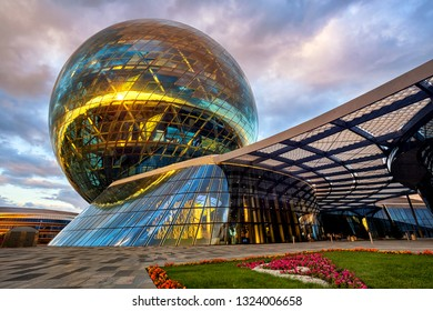 Astana, Kazakhstan - July 22 2018: the futuristic glass sphere of Nur Alem Expo 2017 pavilion is a new symbol of the country's progress.