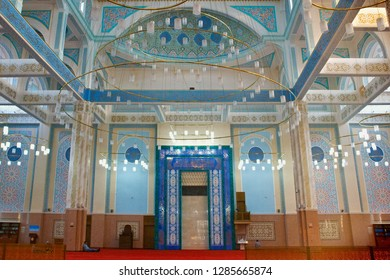 ASTANA, KAZAKHSTAN - JULY 25, 2017: Interior of the Nur-Astana Mosque. Is a modern mosque in Astana and third largest mosque in Central Asia.