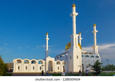 ASTANA, KAZAKHSTAN - JULY 25, 2017: View of the Nur-Astana Mosque. Is a modern mosque in Astana and third largest mosque in Central Asia.