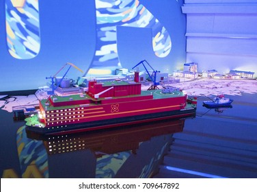 Astana, Kazakhstan - July 4, 2017: Pavilion of Russia at EXPO. Model of the Akademik Lomonosov floating nuclear power station