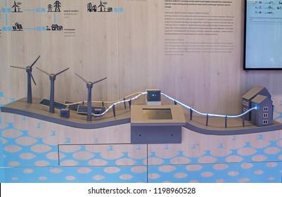 Astana, Kazakhstan - July 5, 2017: Pavilion of Energy Best Practice at EXPO. Model of smart grid storage.