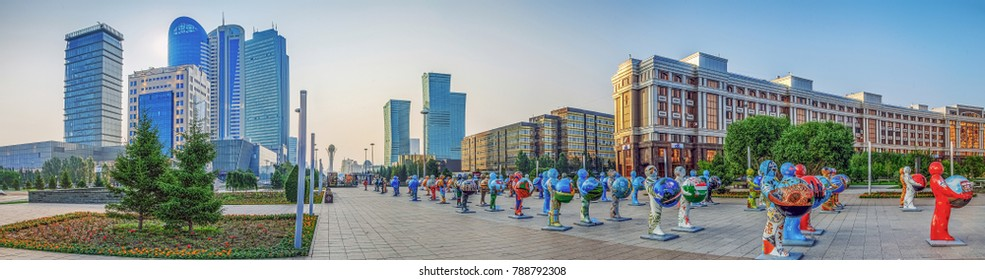 ASTANA, KAZAKHSTAN - JULY 7, 2016: City panorama of the center with plastic figures