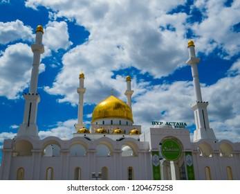 ASTANA, KAZAKHSTAN - JUNE 23, 2018: View of the Nur-Astana Mosque.